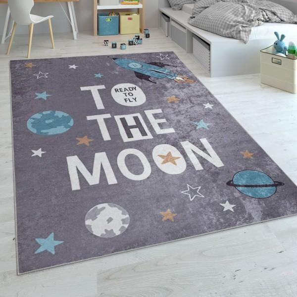 Kinderteppich, Flachgewebe Für Kinderzimmer, Mit Raketen-Motiv Und Spruch, Grau