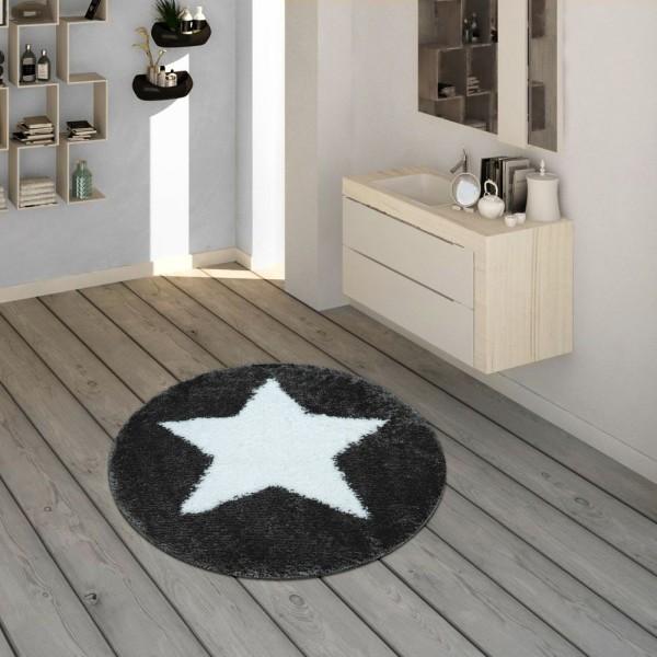 Badematte, Runder Kurzflor-Teppich Für Badezimmer Mit Sternen-Motiv In Grau