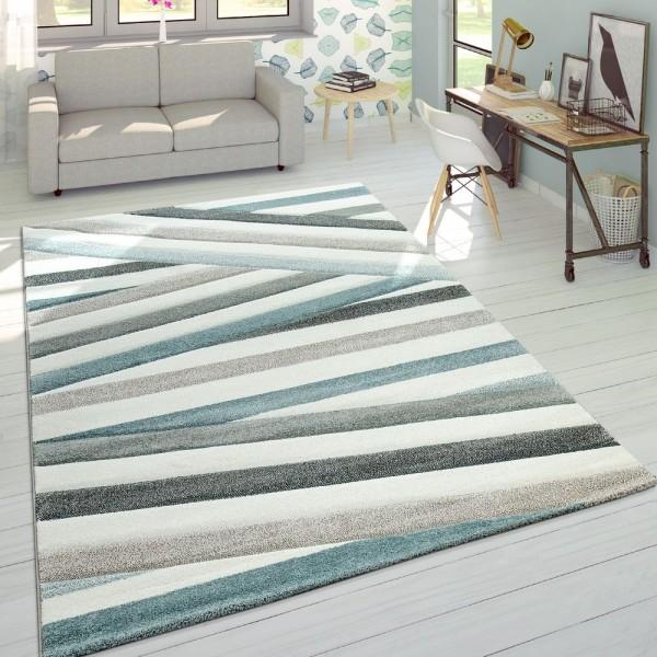 Designer Teppich Modern Konturenschnitt Pastellfarben Gestreift Zick Zack Creme