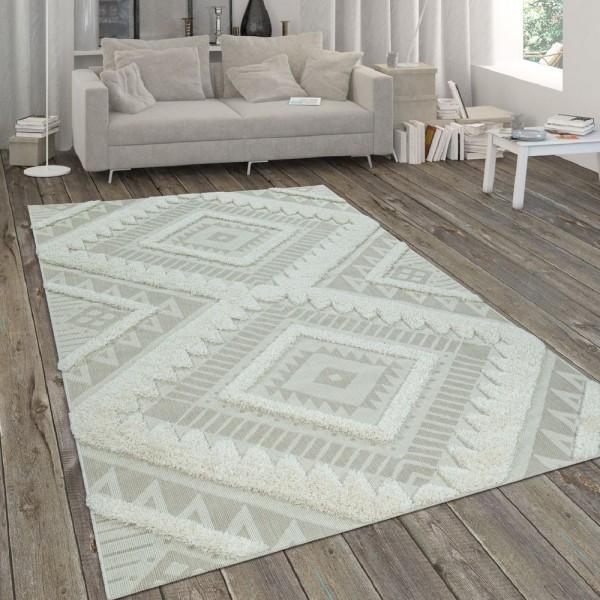 In- & Outdoor-Teppich, Flachgewebe Mit Hochflor-Absetzung, Ethno-Muster In Beige