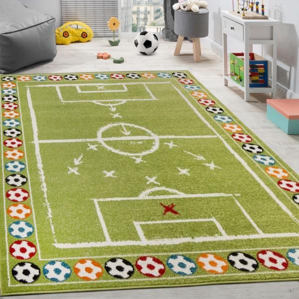 Kinderteppich Bunte Fußbälle Design Kurzflor Fußballfeld Spielteppich Weiß Grün