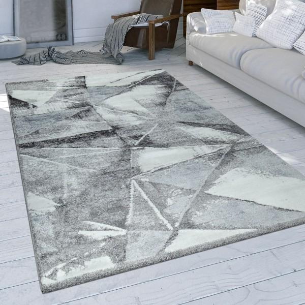 Wohnzimmer Teppich Grau Used Design Dreieck Muster Strapazierfähig Kurzflor