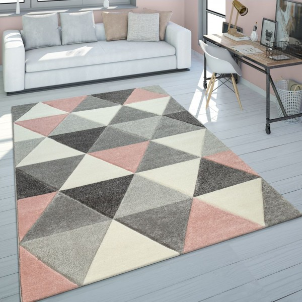 Teppich Wohnzimmer Rosa Grau Pastellfarben 3-D Design Dreieck Muster Kurzflor