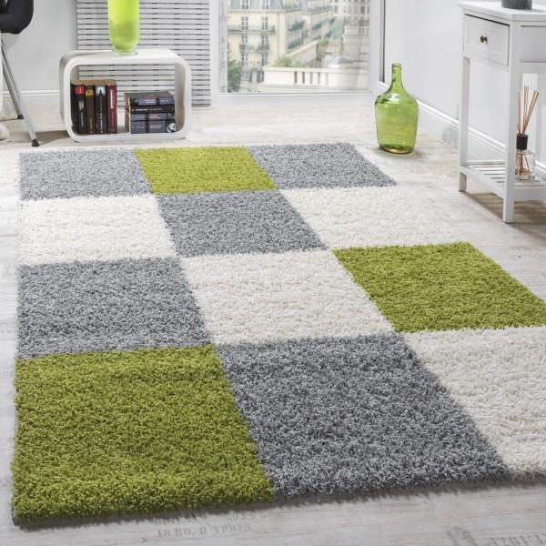 Moderner Hochflorteppich Teppich Shaggy Karomuster behaarte Teppiche grün Grauweiß