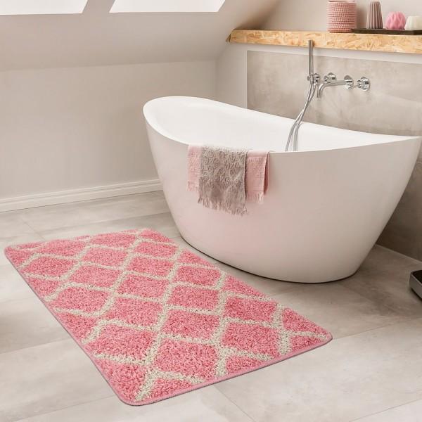 Moderne Badematte Mit Rauten Design Hochflor Badteppich In Rosa Weiß