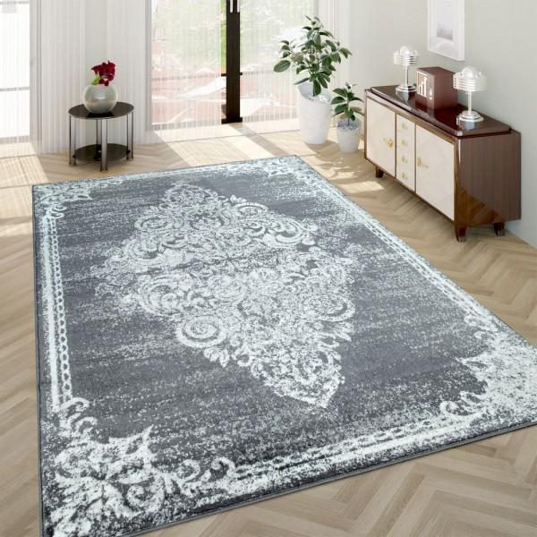 Wohnzimmer-Teppich, Kurzflor-Teppich Mit Used-Look Barockes Design, In Grau
