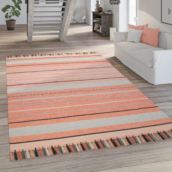 Handgewebter Ethno-Teppich Wohnzimmer Rot Apricot