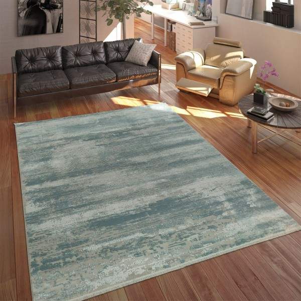Wohnzimmer Teppich Polyacrylgarn Shabby Chic Look Fransen 3D Effekt Pastell Blau Grau