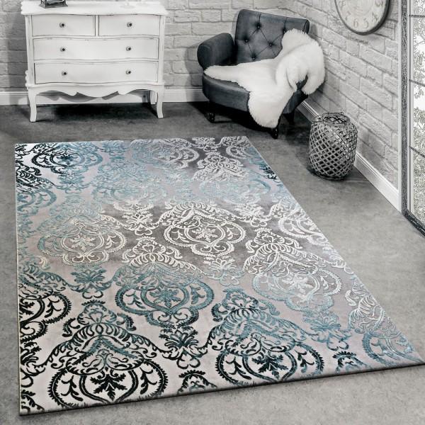 Designer Teppich Moderne Ornamente Muster Wohnzimmerteppich Grau Blau