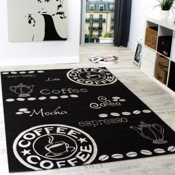 In- & Outdoor Teppich Modern Flachgewebe Sisal Optik Küchenteppich Schwarz Weiß