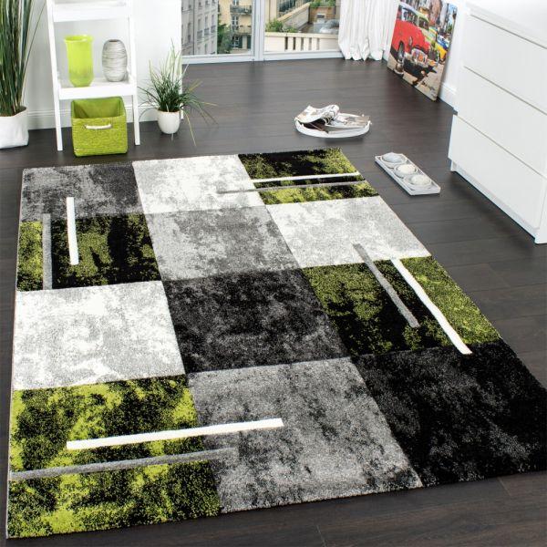 Designer Teppich Modern mit Konturenschnitt Karo Muster Grau Schwarz Grün