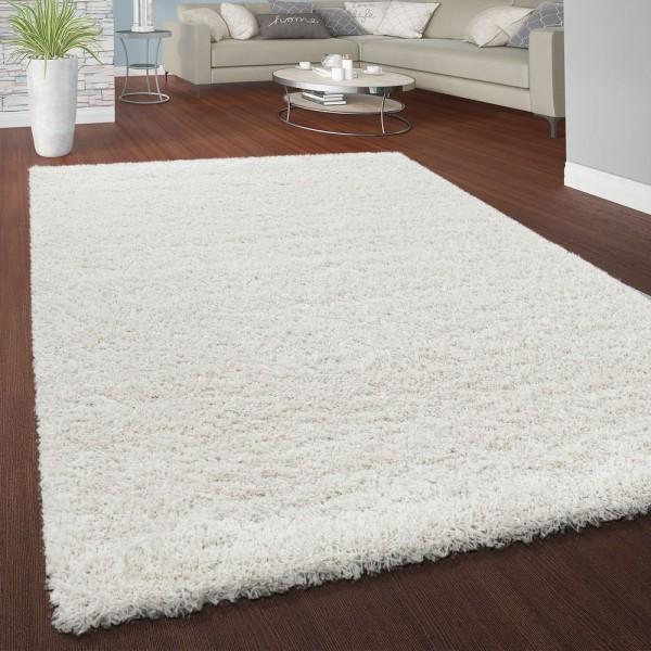 Hochflor Shaggy Teppich Kuschelig Weicher Langflor Moderne Uni Farben In Weiß