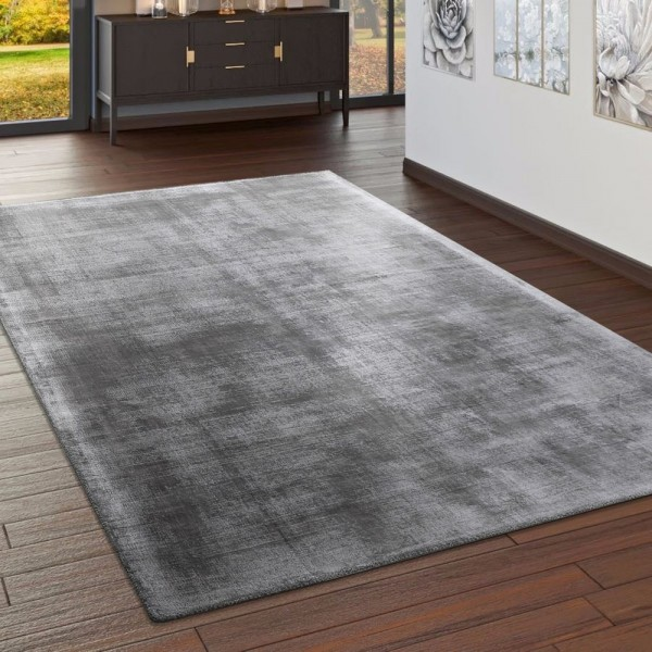 Teppich Handgefertigt Hochwertig 100 % Viskose Vintage Optisch Meliert In Grau