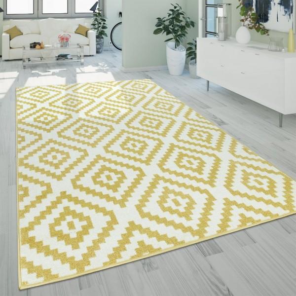 Kurzflor Wohnzimmer Teppich Pastell Geometrisches Ethno Muster Gelb Weiß