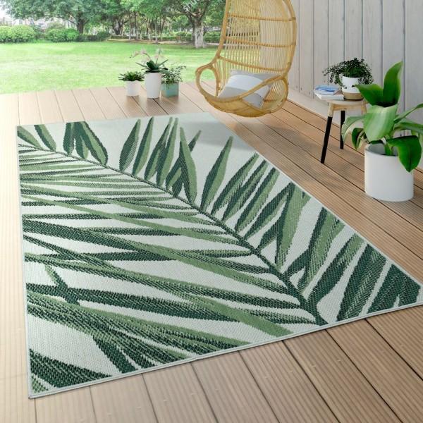 In- & Outdoor Teppich Grün Beige Palmen-Muster Terrasse Balkon Flachgewebe