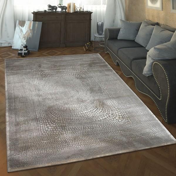 Designer Wohnzimmer Teppich Hoch Tief Struktur Gepunktet Modern In Grau Weiß