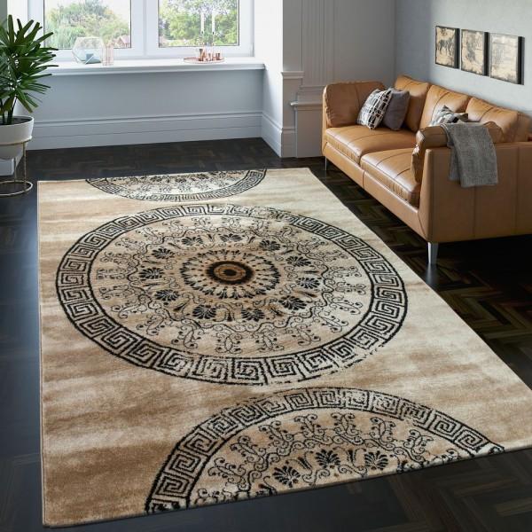 Teppich Klassisch Gemustert Kreis Ornamente in Braun Beige Schwarz Meliert