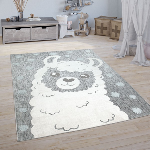 Kinder Teppich Kinderzimmer Spielteppich Lama Motiv