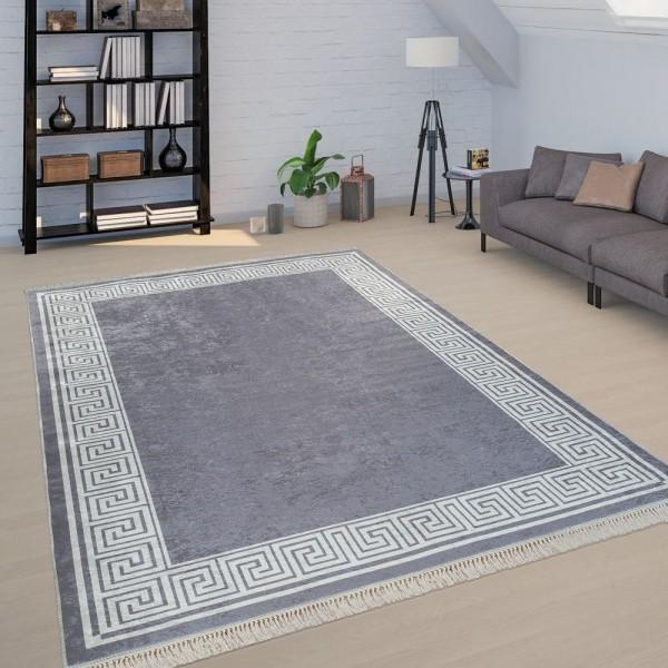 Teppich Wohnzimmer Grau Weiß Weich Bordüre Mäander Design Robust Kurzflor