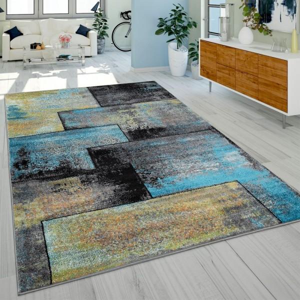 Designer Teppich Modern Wohnzimmer Ölgemälde Abstrakt Rost Optik In Schwarz Blau