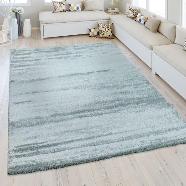 Kurzflor Teppich Einfarbig Pastell Blau