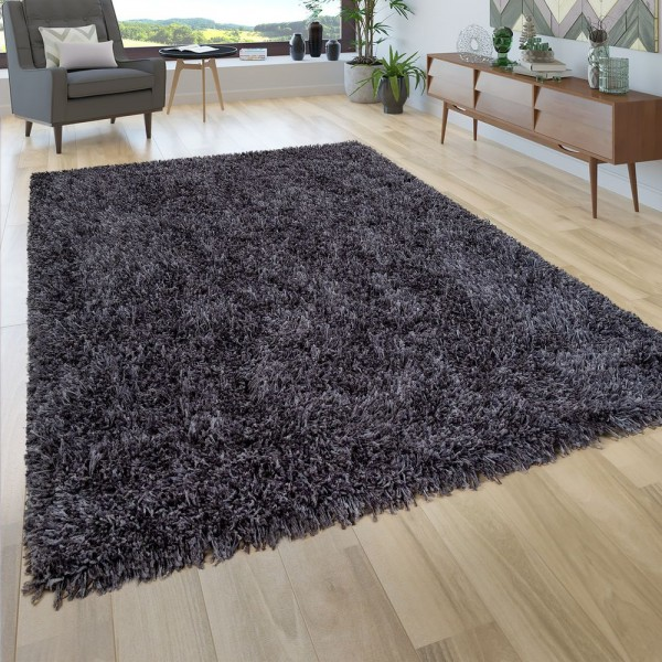 Hochflor Teppich Wohnzimmer Shaggy, Dunkel Grau Blau, Extra Langer Weicher Flor