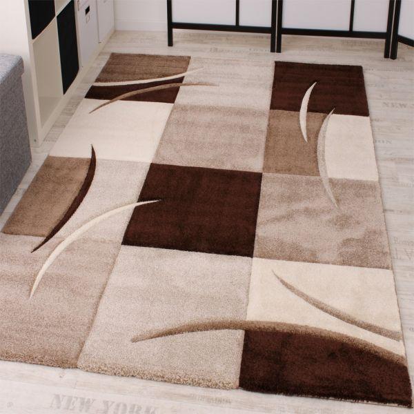 Designer Teppich mit Konturenschnitt Karo Muster Braun Beige