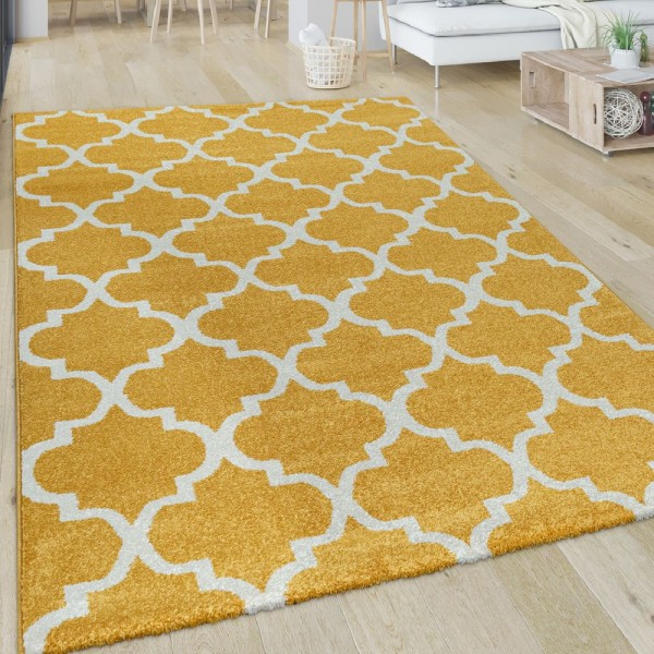 Wohnzimmer-Teppich, Kurzflor Mit Orient-Design Und Rauten-Muster, In Weiß Gelb