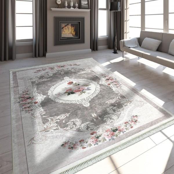 Moderner Teppich Mit Bedrucktem Vintage Muster Trend Design Beige Braun