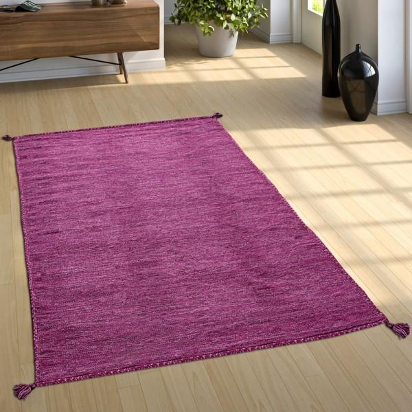 Designer Teppich Webteppich Kelim Handgewebt 100% Baumwolle Modern Meliert Lila