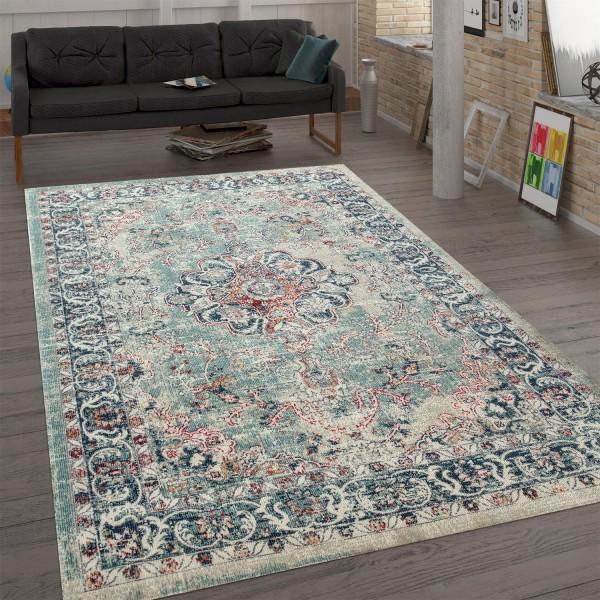 Trendiger Flachgewebe-Teppich Ornamente Mehrfarbig