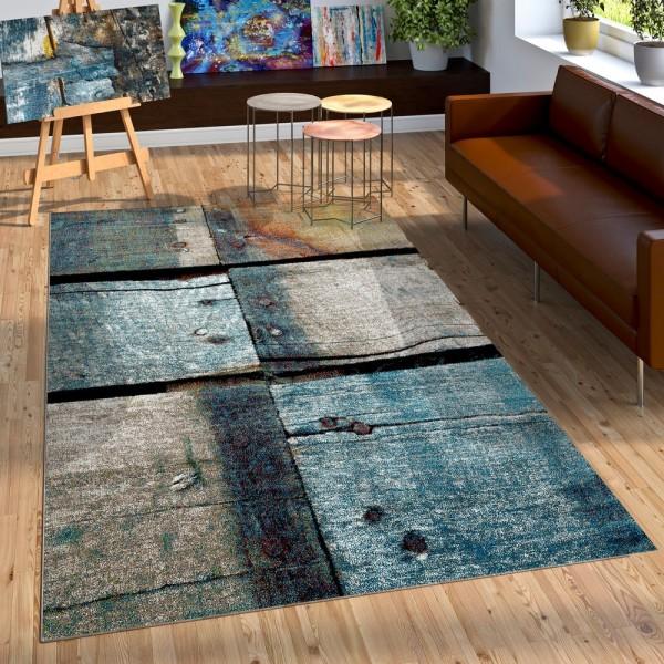 Designer Teppich Holz Stil Hoch Tief Optik In Natur Tönen Blau Grau Rost