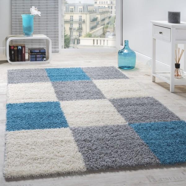 Moderner Hochflor Teppich Shaggy Karo Muster Zottel Teppiche Türkis Grau Weiß
