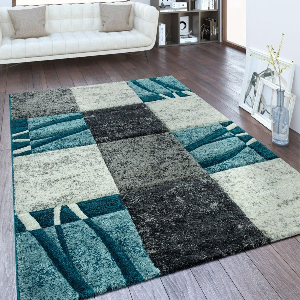 Moderner Kurzflor Teppich Karo Design Blau