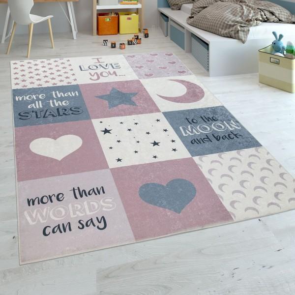 Kinderteppich Kinderzimmer Mädchen Waschbar Herzen Sterne Mond Spruch Rosa Grau