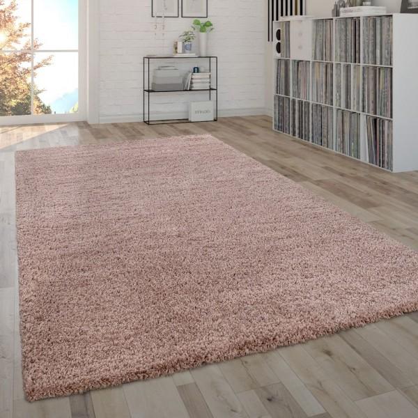 Hochflor-Teppich Im Shaggy-Style, Moderner Wohnzimmer-Teppich In Rosa