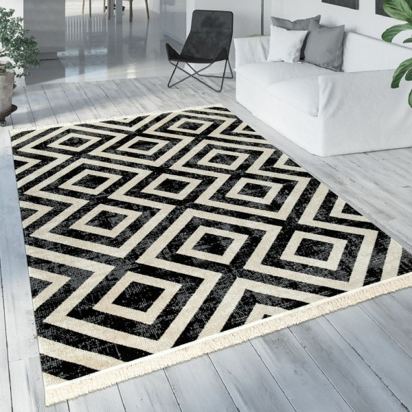 Teppich Schwarz Weiß Balkon Terrasse Outdoor Skandi-Design Rauten-Muster Robust