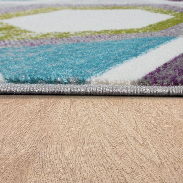 Designer Teppich Wohnzimmer Ausgefallene Farbkombination Retro Mehrfarbig