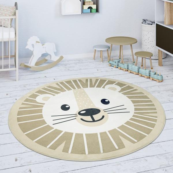 Kinderteppich Teppich Rund Löwen Motiv