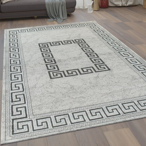 Wohnzimmer-Teppich, Kurzflor Mit Bordüre und Mäander-Muster In Grau Und Schwarz