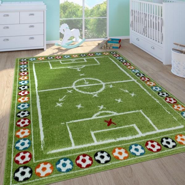 Kinderteppich Kinderzimmer Spielteppich Kurzflor Spielfeld Fußball In Grün