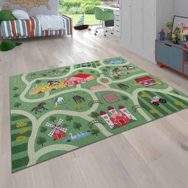 Spielteppich Straßen-Motiv Pferde Grün Rosa