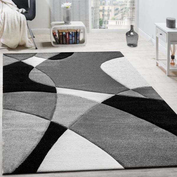 Designer Teppich Modern Geometrische Muster Konturenschnitt In Schwarz Weiß