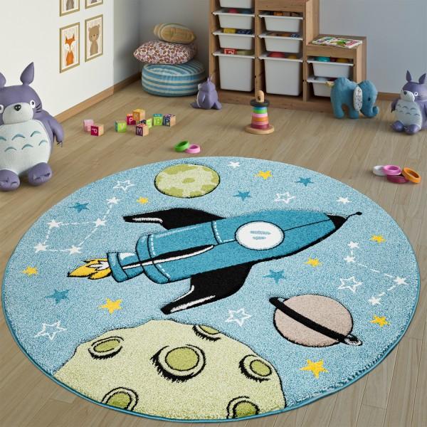 Kinderteppich Rund Weltraum-Motiv