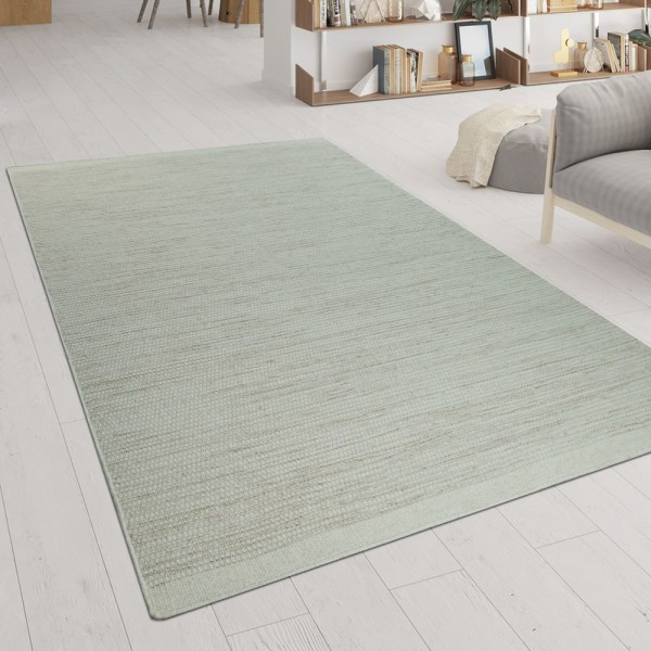 Handgewebter Teppich Flachgewebe Skandinavischer Look Meliert Webmuster In Weiß