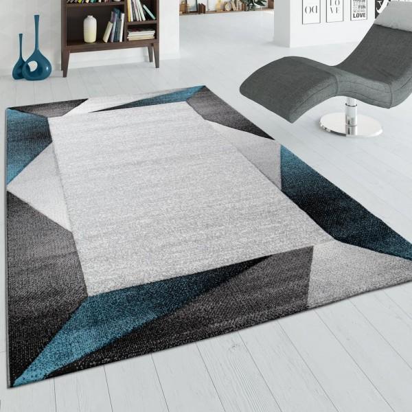 Wohnzimmer-Teppich, Kurzflor-Teppich Mit Bordüre und 3-D-Effekt, In Beige Türkis
