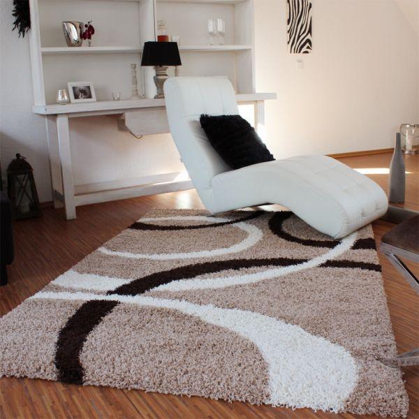 Teppich Hochflor Shaggy Linien Muster Beige Braun Top Preis!