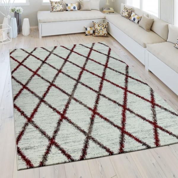 Heatset Teppich Rauten Muster Rot