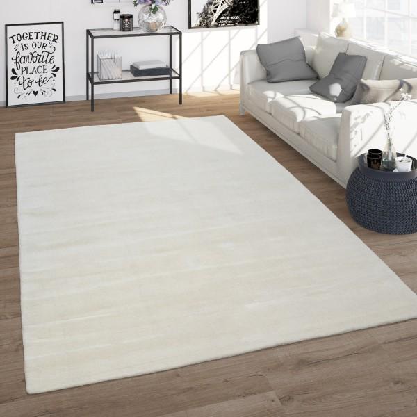 Handgewebter Teppich Wohnzimmer Einfarbig Weiß