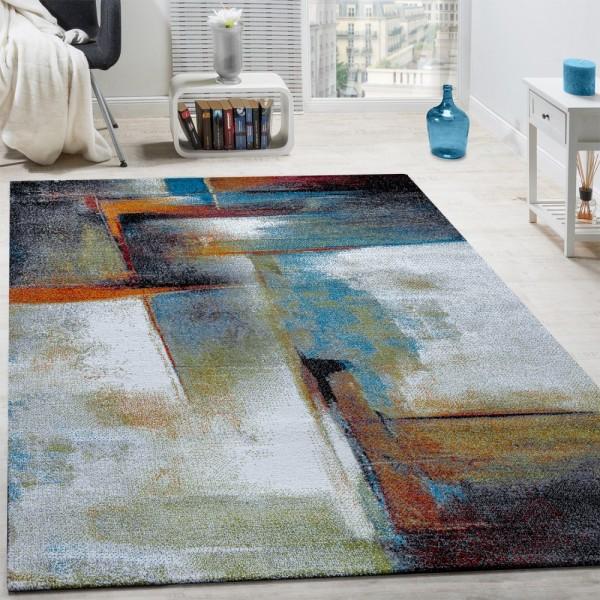 Designer Teppich Modern Kurzflor Wohnzimmer Bunt Trendig Meliert Multicolour